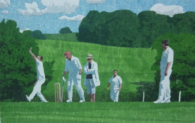 Right arm round - english village cricket painting
