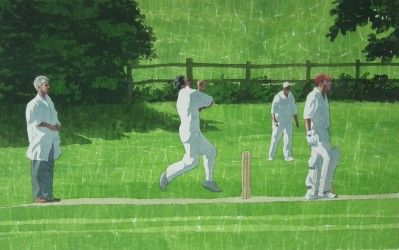 Flying in - english village cricket painting