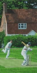 There to be hit - Essex village cricket painting
