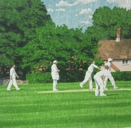 A gentle action - Suffolk village cricket painting
