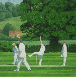 A perfect action - english village cricket painting